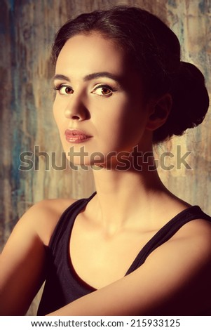 Close-up portrait of a beautiful elegant young woman. Art portrait. - stock photo