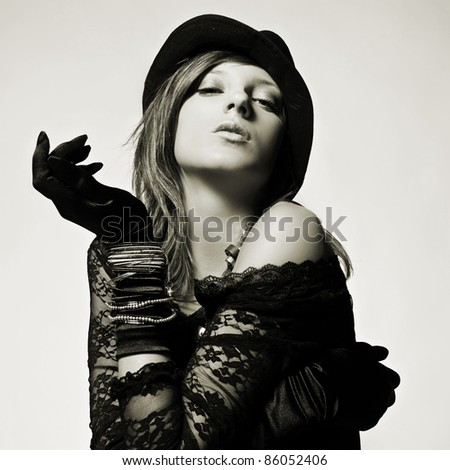 Close-up portrait of a beautiful fashion retro mod - stock photo