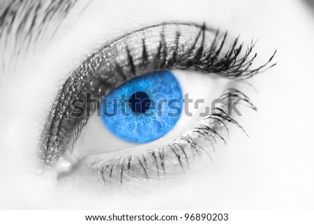 Close-up portrait of a beautiful female blue eye - stock photo