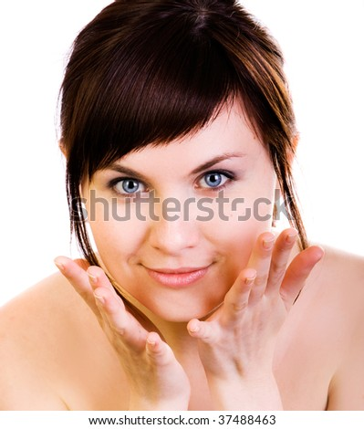 Close up portrait of a beautiful female model - stock photo