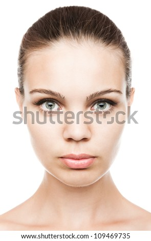 Close up portrait of a beautiful female model isolated on white background - stock photo