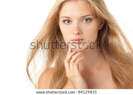 Close up portrait of a beautiful female model on white background - stock photo