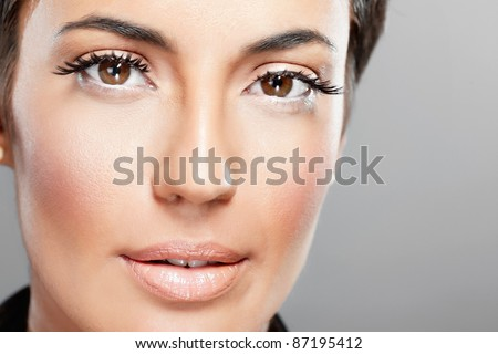 close-up portrait of a beautiful girl with fashion make up - stock photo