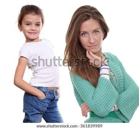 Close up portrait of a beautiful little girl and happy mother, isolated on white background