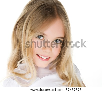 Close-up portrait of a beautiful little girl on white background
