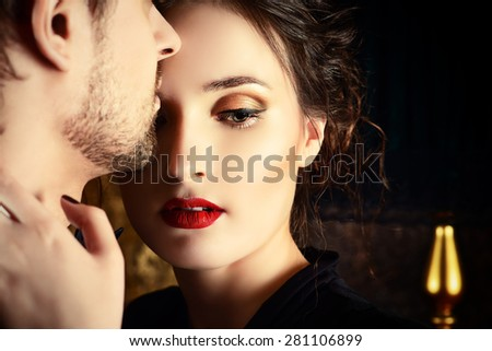 Close-up portrait of a beautiful man and woman in love. Fashion. Love concept. - stock photo