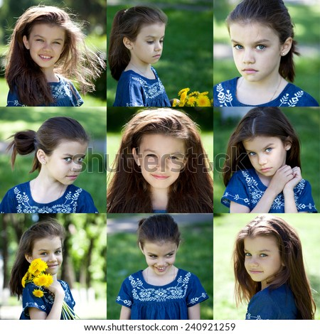 Close up portrait of a beautiful nine year old little girl in summer park - stock photo
