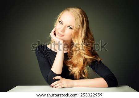 Close-up portrait of a beautiful romantic woman smiling at camera. Beauty, fashion. Body care. Skin care.  - stock photo