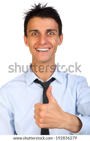 Close up portrait of a beautiful smile young happy business man going thumbs up, isolated on white - stock photo