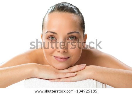 close-up portrait of a beautiful spa woman, concept of female beauty