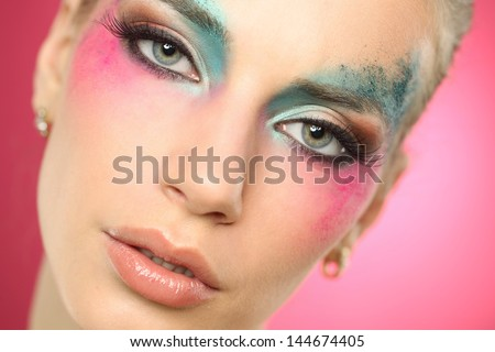 Close up portrait of a beautiful woman wearing make up