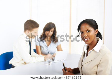 Close up portrait of a beautiful young black businesswoman. - stock photo