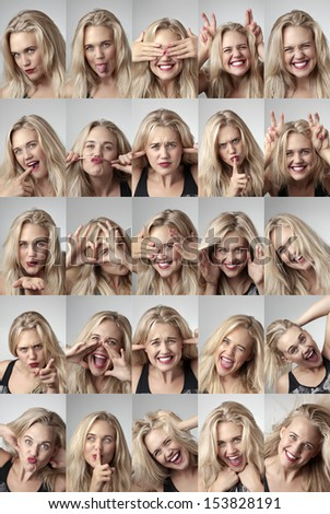 Close-up portrait of a beautiful young girl making funny face - stock photo