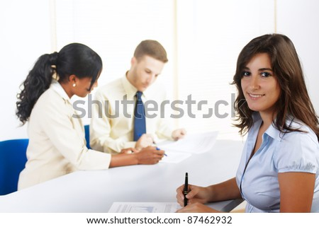 Close up portrait of a beautiful young Hispanic businesswoman. - stock photo