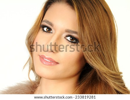 close up portrait of a beautiful Young long haired blond girl with clean skin and perfect make up isolated on white - stock photo