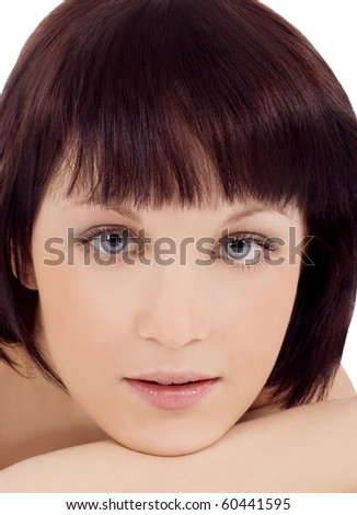 Close-up Portrait of a Beautiful Young Woman's Face; - stock photo