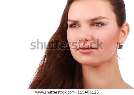 close up portrait of a beautiful young woman with brown long hair - stock photo