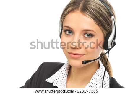 Close up portrait of a blond girl with headphones, illustrating support phone operator, on white