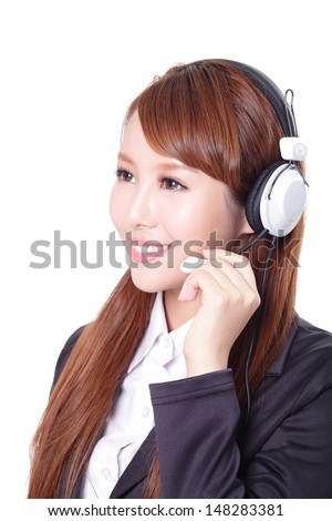 close up portrait of a business woman wearing headset, asian woman model - stock photo