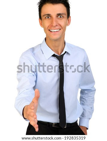 Close up portrait of a Businessman shaking hands isolated on white - stock photo