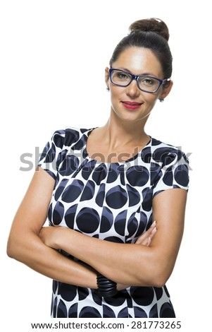 Close up Portrait of a Confident Smiling Young Woman in a Trendy Fashion with Arms Crossing in Front her Body While Looking at the Camera.Isolated on White. - stock photo