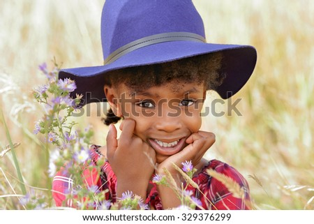 Close Up Portrait of a Cute  African American  Child