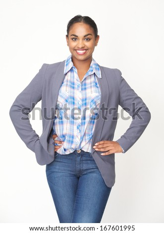 Close up portrait of a cute young woman smiling on isolated white background - stock photo