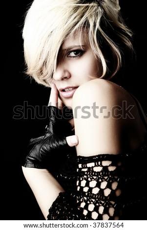 Close-up portrait of a fresh beautiful fashion sexy mod - stock photo