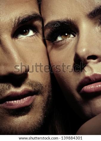 Close up portrait of a gorgeous couple - stock photo