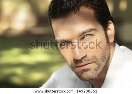Close-up portrait of a handsome guy  - stock photo