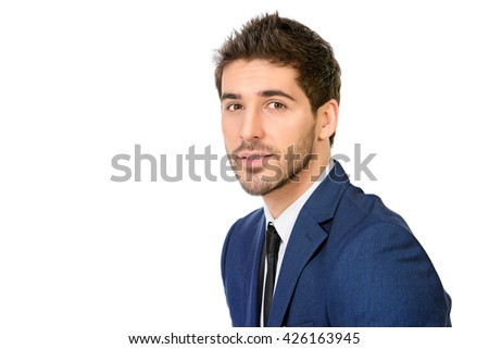Close-up portrait of a handsome smiling man in elegant suit. Men's beauty, fashion. Businessman. Isolated over white. - stock photo