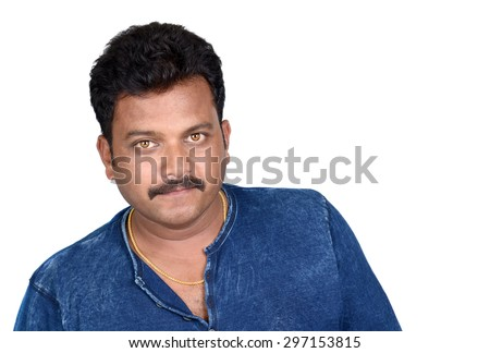 Close up portrait of a handsome young indian man smiling isolated on white background - stock photo