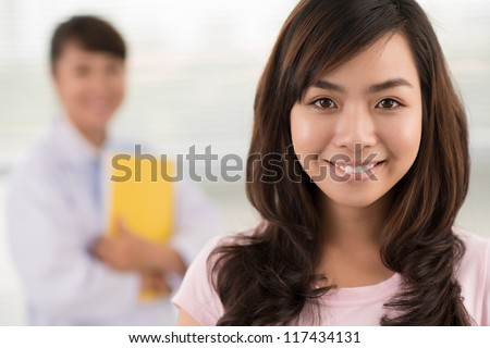 Close-up portrait of a healthy patient after a visit to the doctor - stock photo