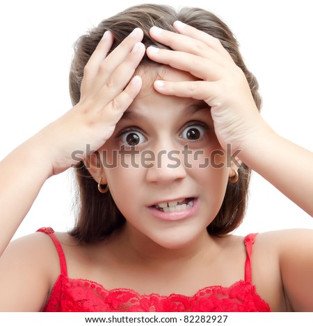 Close up portrait of a latin girl with an angry expression - stock photo