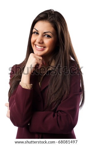 Close up portrait of a latin young businesswoman isolated on white - stock photo
