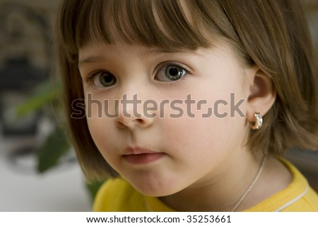 Close up portrait of a little girl with a real pretty face - stock photo