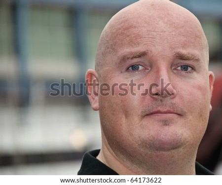 close up portrait of a male outside - stock photo
