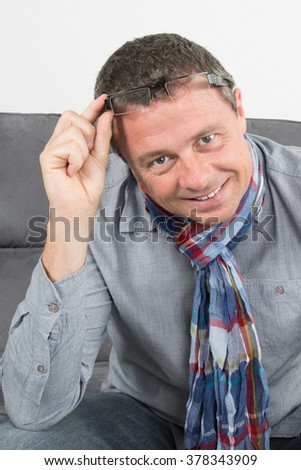Close up portrait of a man isolated on white - stock photo