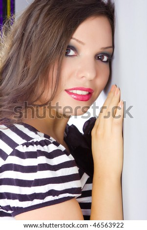 close up portrait of a model with a bright make up - stock photo