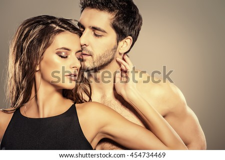 Close-up portrait of a passionate young people in love.