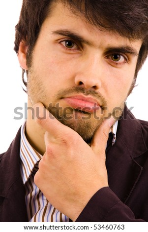 Close up Portrait of a pensive young man, isolated on white