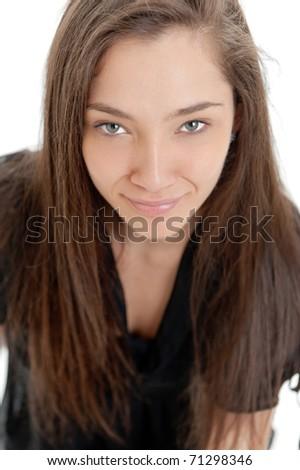 Close-up portrait of a pretty exotic Caucasian woman - stock photo