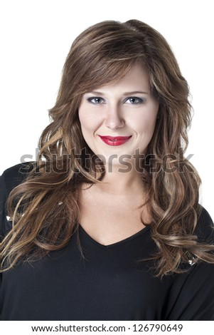 Close up portrait of a pretty woman looking and smiling at camera isolated on