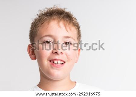 Close-up portrait of a School Boy - stock photo