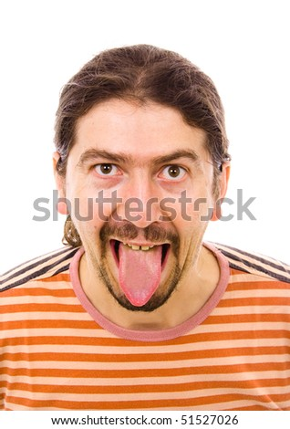 close up portrait of a sily man, isolated on white - stock photo