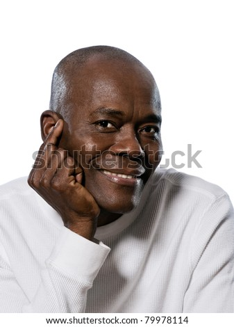 Close-up portrait of a smiling afro American man in studio on white isolated background - stock photo