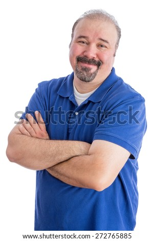 Close up Portrait of a Smiling Bearded Adult Guy in Blue Polo Shirt, Crossing his Arms over His Stomach While looking at the Camera. Isolated on White Background. - stock photo