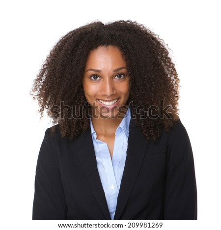 Close up portrait of a smiling black business woman posing on isolated white background