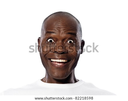 Close-up portrait of a surprised expressive Afro American mature man in studio on white isolated background - stock photo