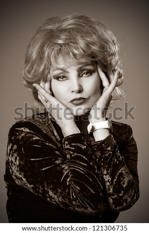 Close-up portrait of a woman's blonde.Sepia - stock photo